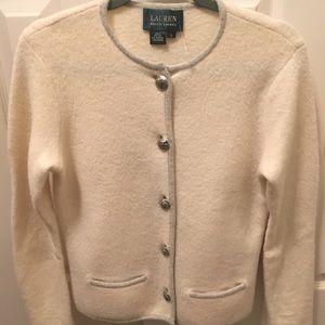 LRL wool cream and gray blazer size S